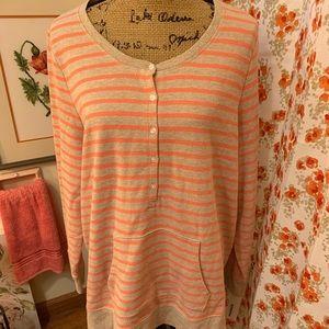 Peach striped summer sweatshirt.  NWT. 1X
